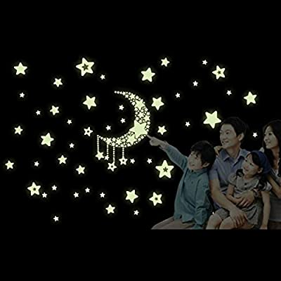 Hamuty Fluorescent Stickers,21cm x 28cm Luminous moon stars wall stickers for Kids Glow in the dark Removable Decal decorate family room light