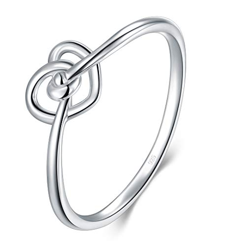 BORUO 925 Sterling Silver Ring Love Knot Promise Engagement Wedding Band 1.5mm Ring Size 8 - Heart Knot Wedding Band Ring