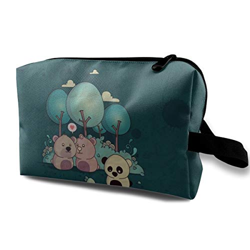 With Wristlet Cosmetic Bags Cute Panda And Bears Travel Portable Makeup Bag Zipper Wallet -