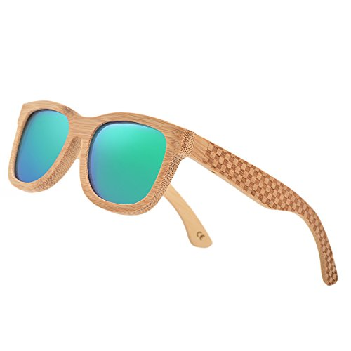 Bamboo Wood Polarized Sunglasses For Men & Women -Temple Carved ()