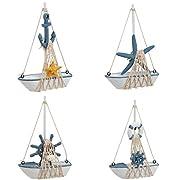 Juvale Mini Sailboat Model Decoration - 4-Piece Wooden Miniature Sailing Boat Home Decor Set, Beach Nautical Design, Navy Blue and White, 4.4 x 6.8 x 1.25 Inches