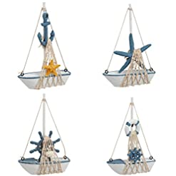 Beach Themed Christmas Ornaments Miniature Sailing Boat Model, Nautical Home Decor (4.4 x 6.8 x 1.25 in, 4 Piece Set) beach themed christmas ornaments
