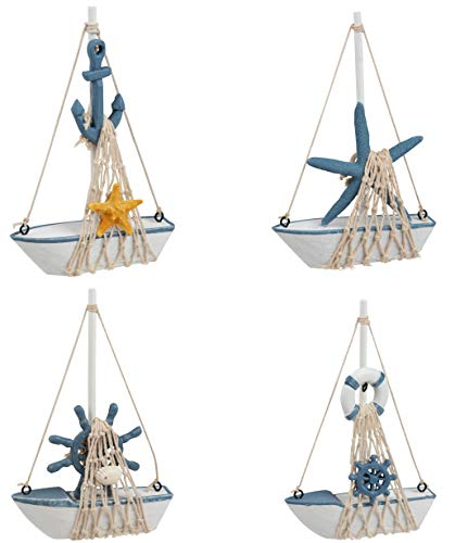 Juvale Mini Sailboat Model Decoration - 4-Piece Wooden Miniature Sailing Boat Home Decor Set, Beach Nautical Design, Navy Blue and White, 4.4 x 6.8 x 1.25 Inches ()