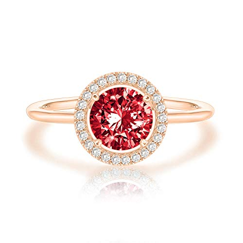 Swarovski Crystal 14K Rose Gold Plated Birthstone Rings | Rose Gold Rings for Women | Ruby Ring