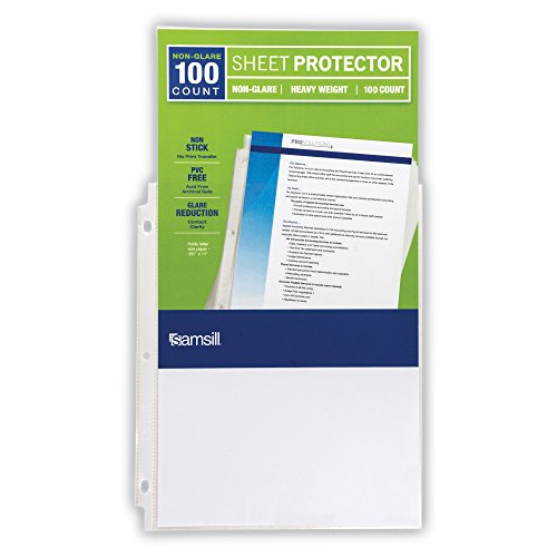 Samsill Heavyweight Non-Glare Poly Sheet Protectors, Box of 100, Acid Free & Archival Safe, Top Loading, Letter Size - 8.5 x 11 Photo #2