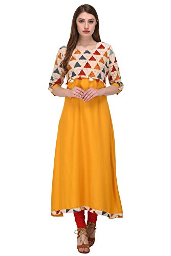 Delisa New Multi Designer Women Straight Multi Design Printed Kurti for Women Tunic Top Dress 01 (Yellow-105, S-36)