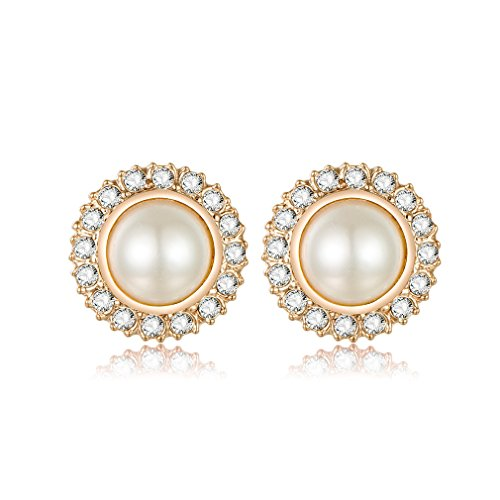 Cream Shell Pearl - Clip On Pearl Bridal Earrings with Art Deco Vintage Wedding Style - Cream Pearls