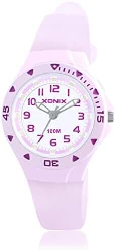 Girls girl girls kid luminous quartz pointer waterproof watch-C