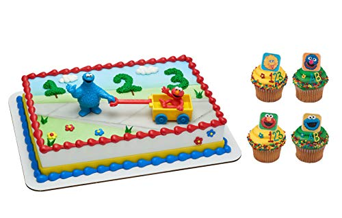 Elmo and Cookie Monster Cake Topper with 24 Big Bird, Elmo, Grover and Cookie Monster Cupcake Rings and 24 Assorted Colored Spiral Candles