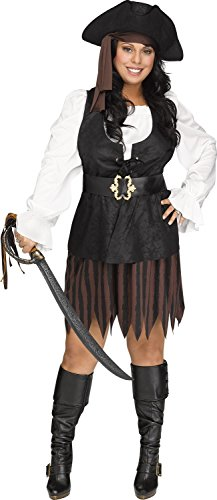 Rustic Plus Pirate Captain Buccaneer Caribbean Queen Sea Adult Womens Costume - Caribbean Pirate Maiden Costumes