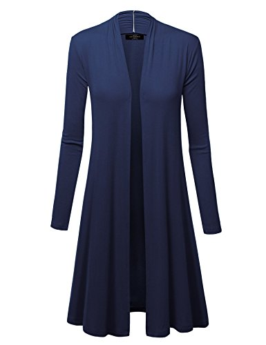 WSK1048 Womens Solid Long Sleeve Open Front Long Cardigan XL Navy