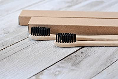 Natural Bamboo Toothbrush with Black Soft Charcoal Bristles - Pack of 4 Toothbrushes - BPA Free, Eco-Friendly & Biodegradable - Gentle on Teeth and Gums - Easy to Use with Activated Charcoal Powder