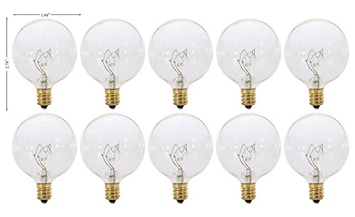 - (Pack of 10) G16.5 Decorative (E12) Candelabra Base Globe Shape 120V G16 1/2 Light Bulbs (Clear, 40 Watt)