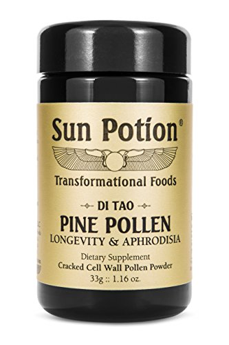 Pine Pollen Powder 33g by Sun Potion – Organic, Wildcrafted Herbal Extract, Superfood and Supplement, Cracked Cell Wall, Amino Acids – Metabolism, Libido, and Endurance Enhancing