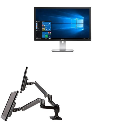Two Dell P2715Q 27-Inch 4K LED-Lit Monitors Bundled with AmazonBasics Dual Side-by-Side Mounting Arm
