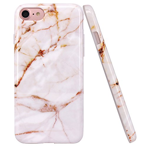 JAHOLAN iPhone 7 Case iPhone 8 Case Gold Marble Design Clear Bumper Glossy TPU Soft Rubber Silicone Cover Phone Case for iPhone 7 iPhone 8