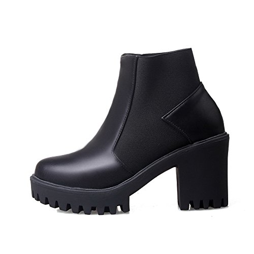 Women's PU Low-top Assorted Color Pull-on High-Heels Boots