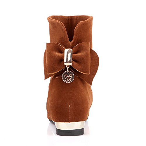 AmoonyFashion with and US Glass B Toe Womens Heels Plush Round Solid Kitten Closed 5 Short Bowknot Diamond Yellow Boots M OvOwq
