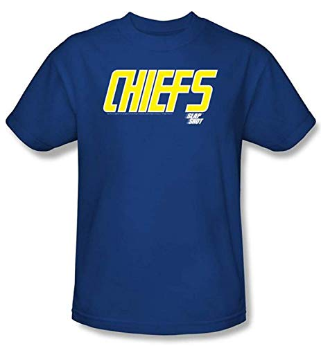 Slap Shot T-Shirt Hockey Movie Chiefs Logo Adult Royal Blue Tee Shirt (4XL)