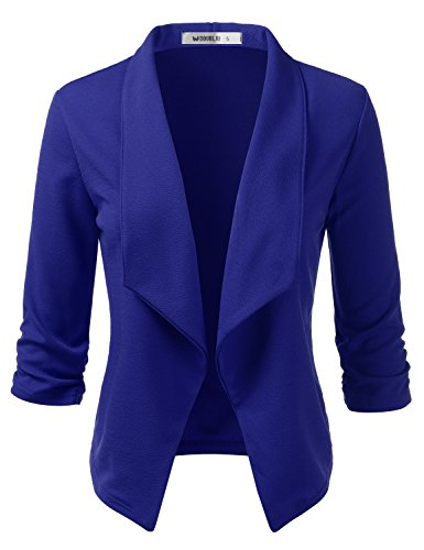 Doublju Womens Lightweight Classic Draped Open Front Blazer with Plus Size Royal 1X