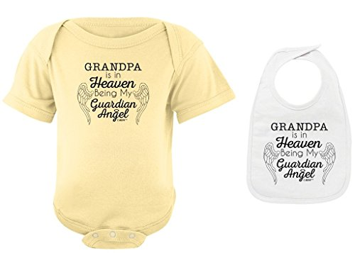 in Memory of Loved One Grandpa in Heaven Being Guardian Angel Banana Bodysuit and White Bib Bundle 12 Months