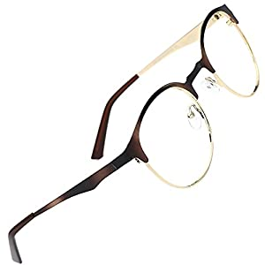 TIJN New Round Designer Metal Eyeglasses Frames with Clear Lens (Tortoise, Transparent)