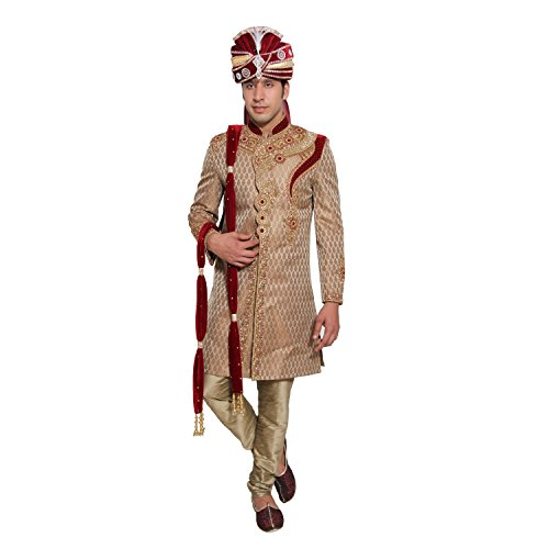 Embroidered Men's Kurta Sherwani Set Indian Wedding Party Wear by Favoroski