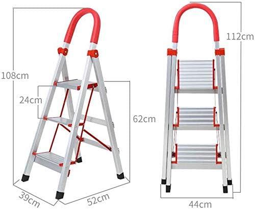 JLDN Escalerilla, 3 Peldaños Escalera Plegable Escalera con Apoyabrazos Stepladder Resistente y Ancha Antideslizantes Heavy Duty Aluminio,Red: Amazon.es: Hogar