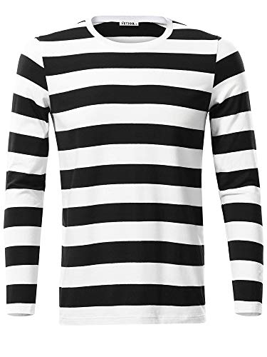 VETIOR Basic Striped Shirt Long Sleeve Casual 2XL T Shirts Black