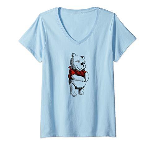 (Womens Disney Winnie the Pooh Sketch V-Neck T-Shirt)