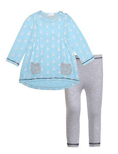 Arshiner Toddle Girls Kids Spring Autumn Long Sleeve Lovely Rabbits Stripes Printed 2 Pcs Cotton Outfits Top Leggings Set, Blue, 110(Age for 4-5 years)