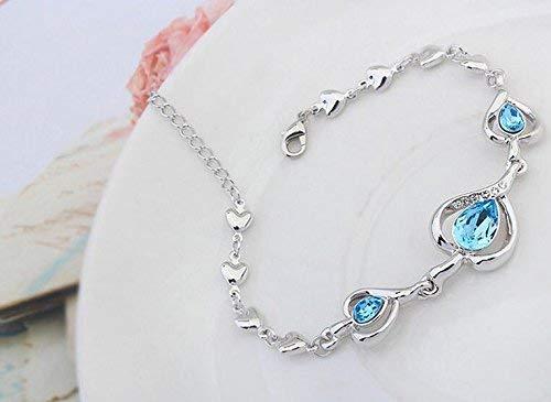 Femmes élégantes Leng Elegant Pretty Bracelet Bracelet en cristal de luxe Extravagance pour le cadeau de la Saint-Valentin Décoration de la maison Aigue-marine Cuisine & Maison