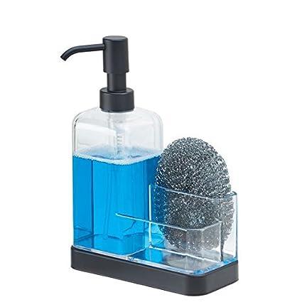 mDesign dispenser sapone rabboccabile – dispenser sapone con vano organizzatore per spugne, spazzole e pagliette – trasparente/nero opaco MetroDecor
