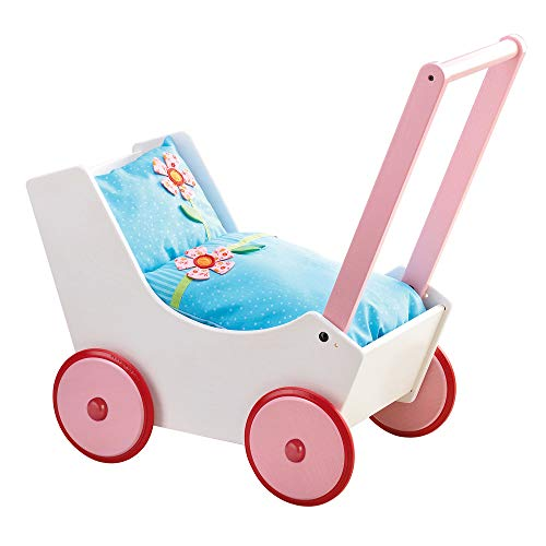 - HABA Doll Pram Flowers - Wooden Doll Buggy with Bedding (Made in Germany)