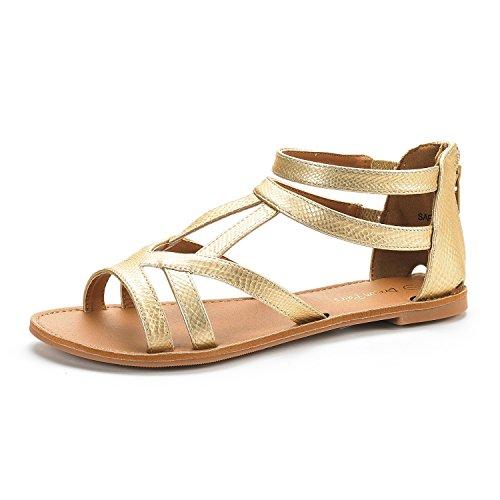 DREAM PAIRS SAPHA New Women's Summer Trendy Print Gladiator Back Zipper Flat Sandals GOLD PU PU Size 8.5