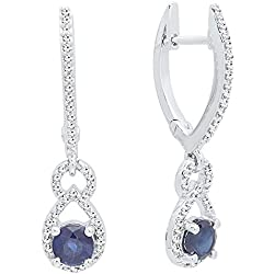 14K Gold Round Cut Each 4 MM Blue Sapphire & White Diamond Ladies Dangling Drop Earrings