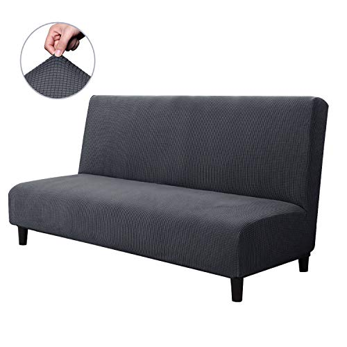 CHUN YI Armless Sofa Slipcover Elastic Fitted Full Folding Sofa Bed Cover Without Armrests,Removable Machine Washable Non-Slip Furniture Protector for Futon Couch Bench (Sofa, Gray) ()