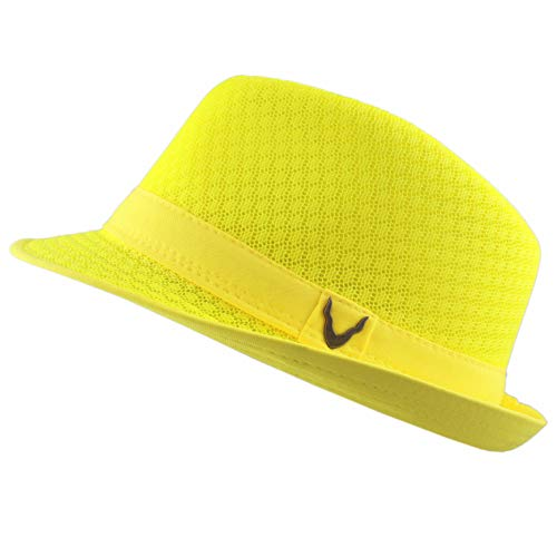 Black Horn Light Weight Classic Soft Cool Mesh Fedora hat (S/M, Yellow) -