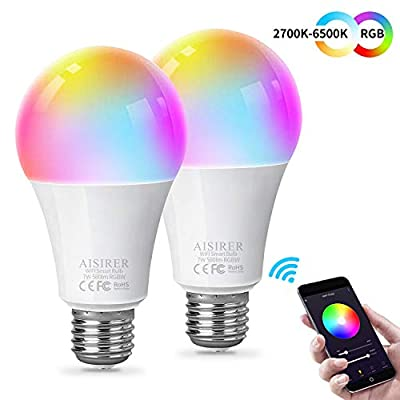 Smart Light Bulb WiFi LED RGB Color Changing Bulb Compatible with Amazon Alexa Echo Google Home Assistant and IFTTT E26 7W Equivalent 60W Multicolor Dimmable No Hub Required A19 580LM AISIRER 2 Pack