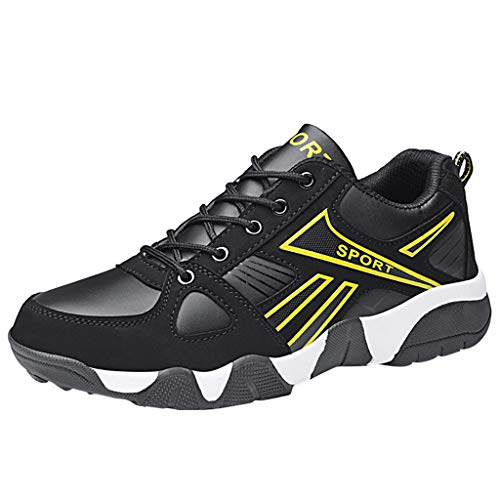 iYBUIA Couple Unisex Outdoor Lace-Up Casual Sports Lightweight Damping Wear Resistant Run Breathable Sneakers Shoes Yellow