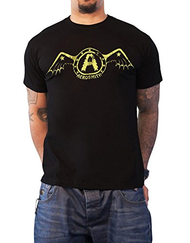 Logo Shirt Officiel Aerosmith Wing T Bat Noir Homme Nouveau Band Rx5USwUqX