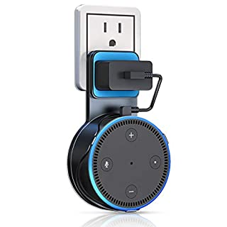 Outlet Wall Mount Hanger Holder Stand for Echo Dot 2nd Generation, The Best Space-Saving Solution for Your Smart Home Speaker without Mess Wires or Screws (Black A)