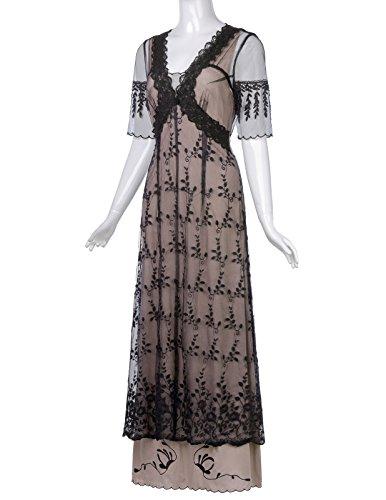 Gothic Kleid Damen Steampunk 3 Bp247 Kleid Lang Corsagenkleid Schwarz Belle Poque aqAwBB