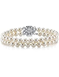 Sterling Silver AAAA Quality Round White Double Freshwater Cultured Pearl Bracelet for Women
