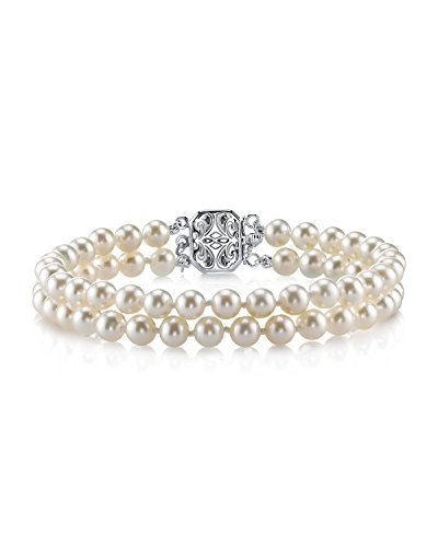 THE PEARL SOURCE Sterling Silver 6-7mm AAAA Quality Round White Double Freshwater Cultured Pearl Bracelet for Women