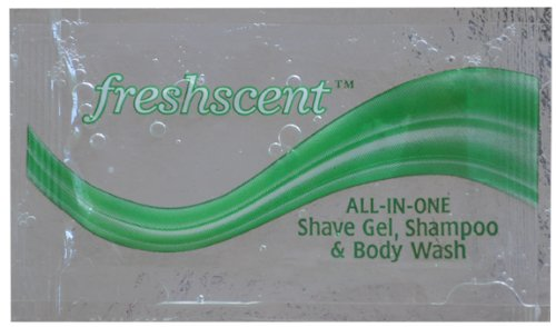 Freshscent NWI-SSBP-1000 All-in-one Shampoo, Shave Gel & Body Wash Packet - 0.34 Oz, Case Of 1000