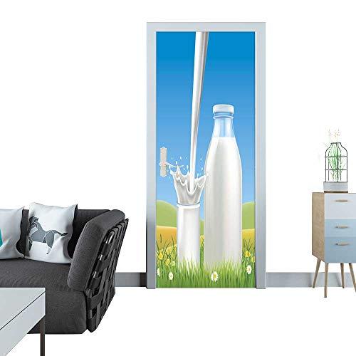 (Anmaseven Glass Door Sticker Decals Milk Bottle on Summer Green Meadow with Summer flowers1 Sticker for Door 30x79(77x200 cm))