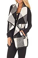 Yacun Women Vest Open Front Buffalo Plaid Sleeveless Cardigan Shawl Coat