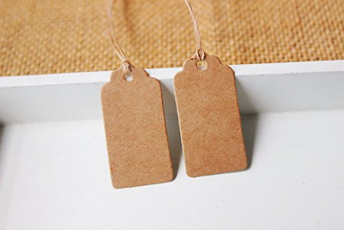 (500 Pieces Kraft paper Hang Tags, Merchandise Tags, Price Tags 2cmx4cm)