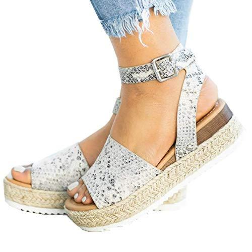 (Ru Sweet Womens Wedges Sandal Open Toe Ankle Strap Trendy Espadrille Platform Sandals Flats)